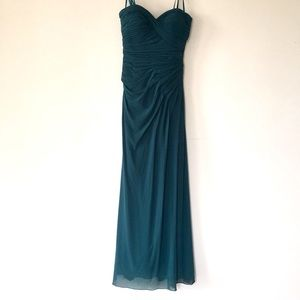 Long Strapless Gown with Flattering Ruching